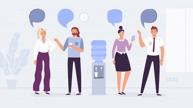 Discussione sul refrigeratore d'acqua. conversazione degli impiegati, la gente beve l'acqua e parla con l'illustrazione dei fumetti