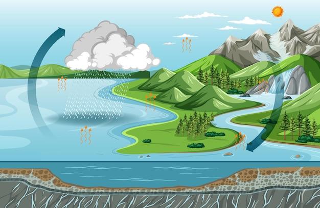Diagramma del ciclo dell'acqua (evaporazione) con scena di paesaggio naturale
