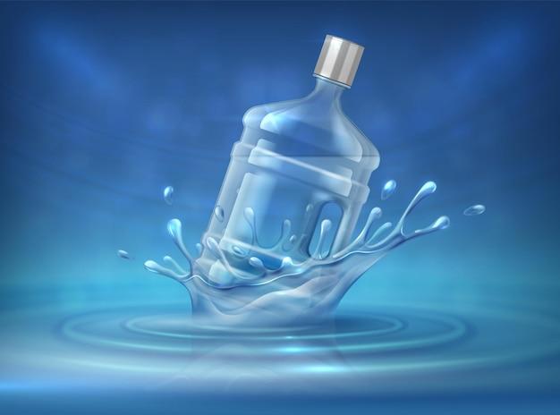 Bottiglia per dispenser d'acqua. sfondo pubblicitario realistico con grande tanica d'acqua e schizzi