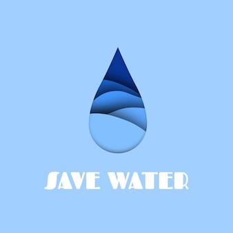 Goccia d'acqua. effetto taglio carta acqua, salva il concetto di mare e oceano, gocciolina astratta che cade di liquido blu con illustrazione vettoriale di testo bianco in stile intaglio