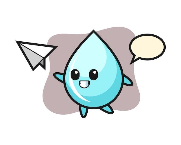 Personaggio dei cartoni animati di goccia d'acqua gettando aeroplano di carta, design in stile carino per t-shirt