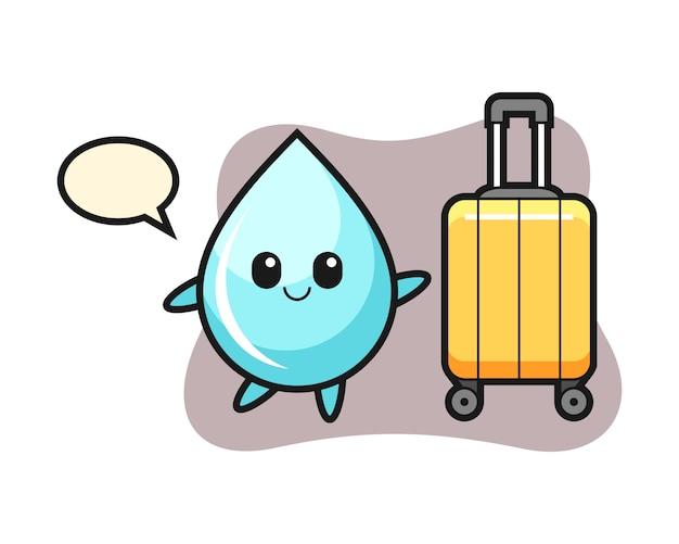 Illustrazione del fumetto della goccia di acqua con bagagli in vacanza, progettazione sveglia di stile per la maglietta
