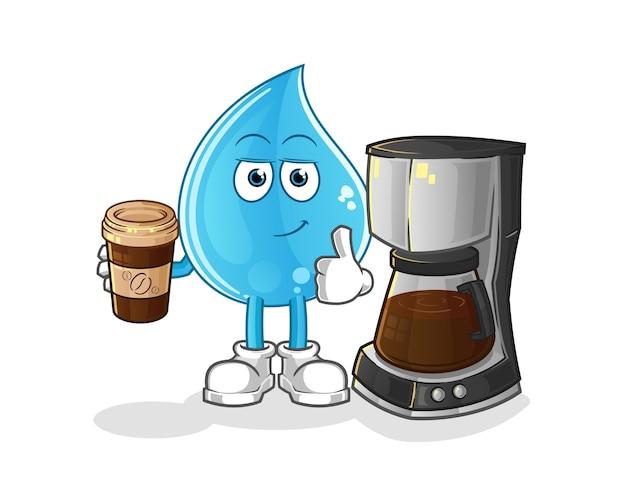 Illustrazione di caffè bevente di goccia d'acqua