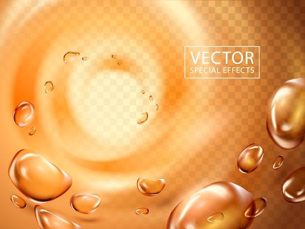 La goccia d'acqua viene risucchiata in un vortice leggero, può essere utilizzata come effetti speciali
