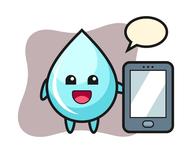 Fumetto dell'illustrazione della goccia di acqua che tiene uno smartphone, progettazione sveglia di stile per la maglietta