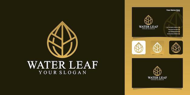 Goccia d'acqua e logo foglia con modello di design in stile arte linea e biglietto da visita
