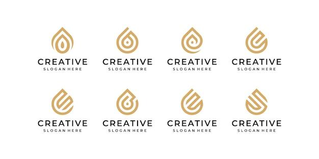 Insieme di logo di arte di linea goccia d'acqua