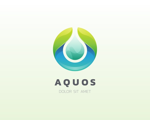 Logo di goccia d'acqua. icona del logo di acqua dolce aqua