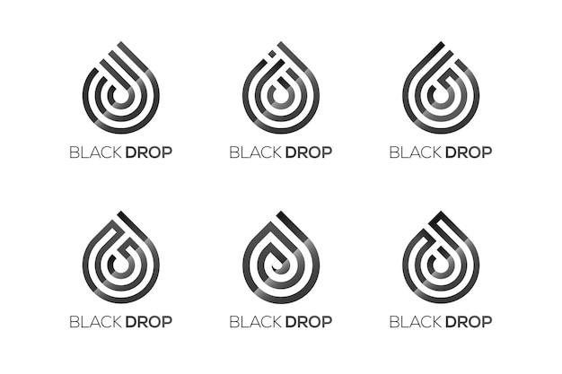 Modello di progettazione di logo di goccia d'acqua, 9 diversi loghi di goccia