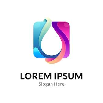 Logo della goccia d'acqua di forma quadrata