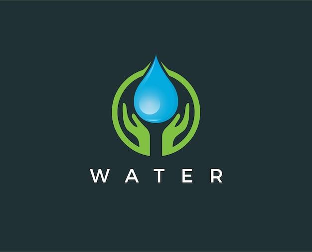 Modello logo goccia d'acqua