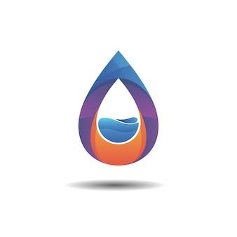 Concetto di design del logo con gradiente di acqua minerale e goccia d'acqua