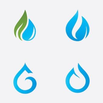 Disegno dell'illustrazione di vettore del modello di logo della natura della goccia d'acqua