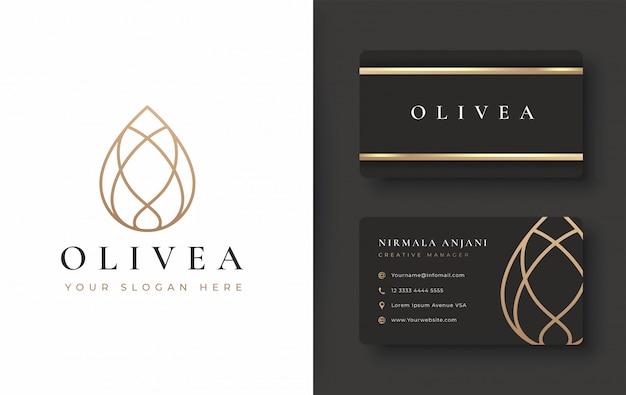 Logo con goccia d'acqua / olio di oliva e design per biglietti da visita