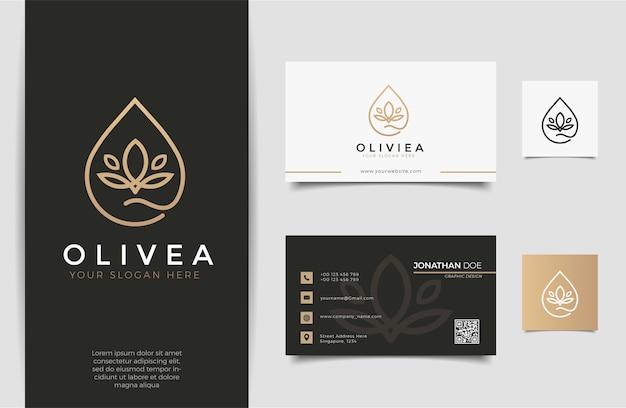 Goccia d'acqua / logo olio d'oliva e design biglietto da visita