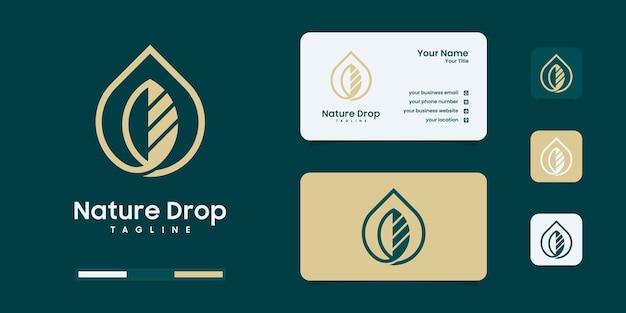 Modelli di design del logo con goccia d'acqua e olio d'oliva.