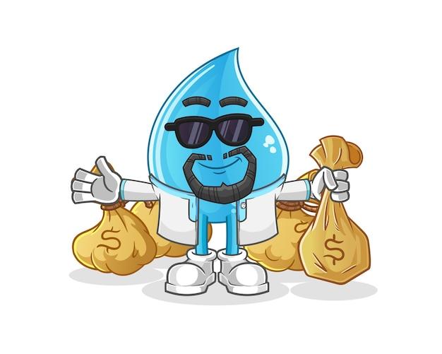 Mascotte araba ricca di goccia d'acqua