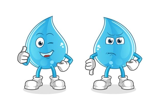 Goccia d'acqua pollice in alto e pollice in giù cartone animato