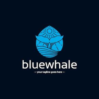 Modello di logo di balena goccia d'acqua