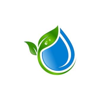 Goccia d'acqua con logo foglia vettoriale