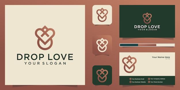 Goccia d'acqua cuore all'interno logo design e biglietto da visita