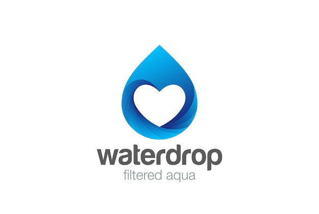 Goccia d'acqua cuore all'interno del logo design. amore minerale naturale aqua drop drink logotipo.