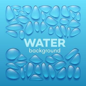 Gocce d'acqua su sfondo blu.