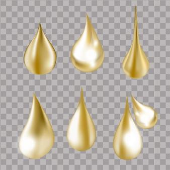 Gocce d'acqua spruzzi d'oro trasparenti illustrazione di gocce e schizzi di siero d'acqua