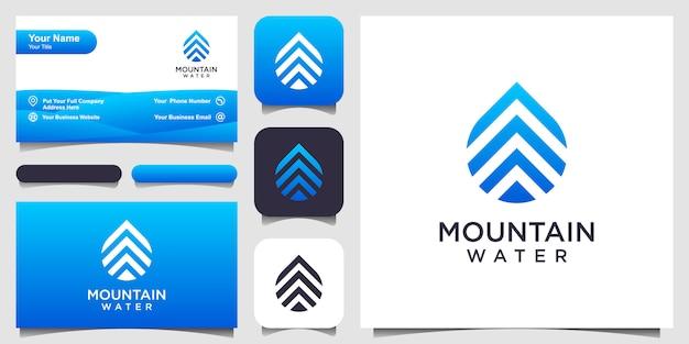 Design del logo con gocce d'acqua combinato con stile art line di montagna e design di biglietti da visita