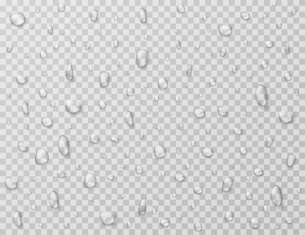 Gocce d'acqua . spruzzi di pioggia, goccioline sulla finestra di vetro trasparente. trama di goccia di pioggia