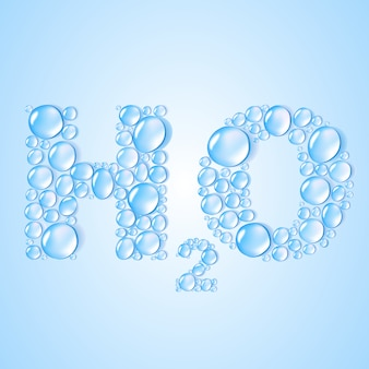 Gocce d'acqua a forma di su sfondo blu. illustrazione