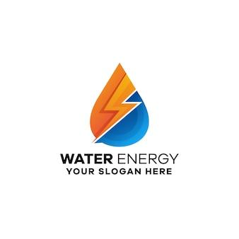 Modello di logo colorato gradiente di energia dell'acqua