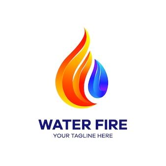 Modello di logo colorato di fuoco d'acqua
