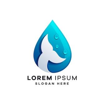 Modelli di progettazione di logo di acqua e pesce Vettore Premium