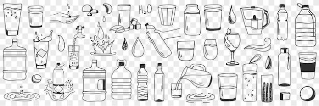 Insieme di doodle di forme e forme dell'acqua