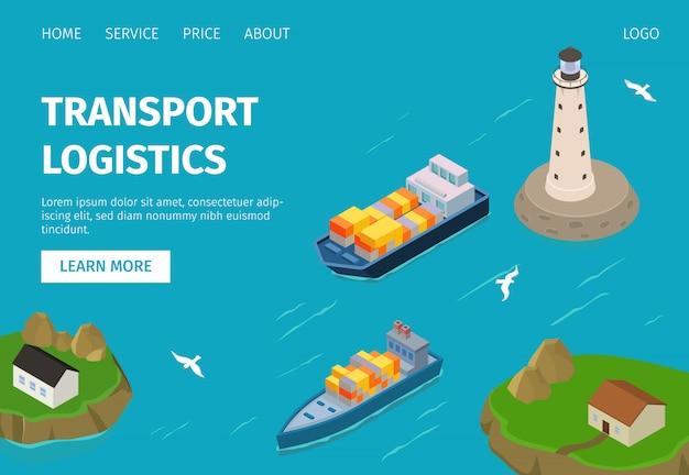 Sito web dell'illustrazione di logistica di trasporto del trasporto di acqua, navi porta-container in porto.