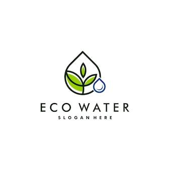 Design del logo acqua e foglia. logotipo della natura