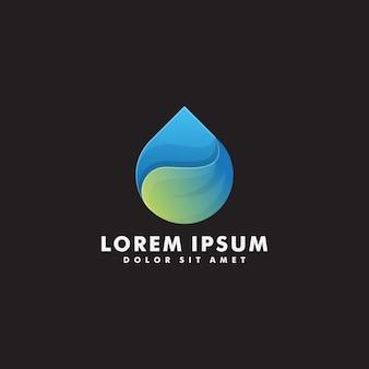 Vettore di progettazione di logo della foglia dell'acqua