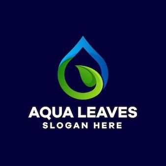 Disegno del logo sfumato di foglie d'acqua