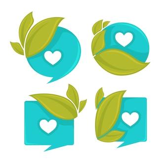 Set di tag acqua e foglie