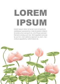 Fiore rosa di loto della ninfea con l'illustrazione piana di vettore delle foglie verdi sul disegno verticale dell'insegna del fondo bianco
