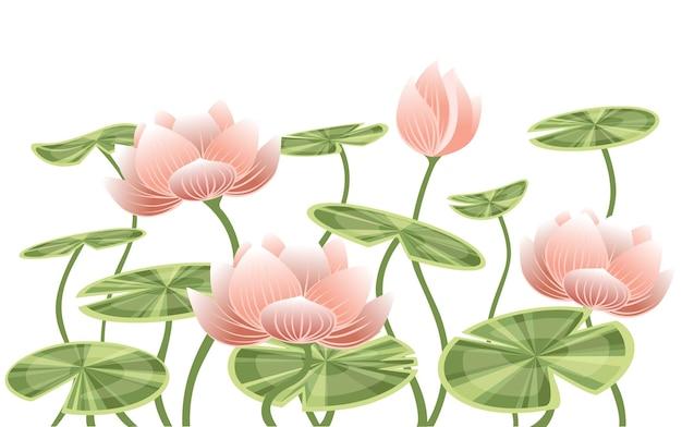 Fiore rosa di loto della ninfea con l'illustrazione piana di vettore delle foglie verdi su fondo bianco