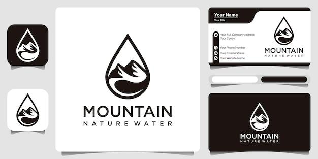 Design del logo dell'acqua combinato con lo stile artistico della linea di montagna e foglia e il design del biglietto da visita