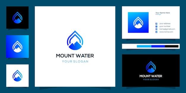 Design del logo dell'acqua combinato con lo stile artistico della linea di montagna e il design del biglietto da visita