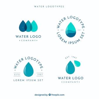 Collezione di loghi acquatici per aziende in stile piatto
