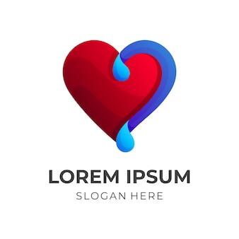 Design del logo dell'acqua e dell'amore con lo stile di colore blu e rosso 3d