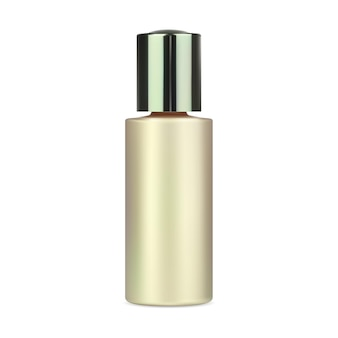 Bottiglia di struccante per acqua contenitore di plastica dorata mockup di boccette di siero di collagene