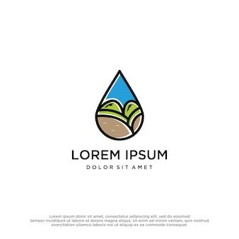 Modello di progettazione del logo della natura dell'acqua