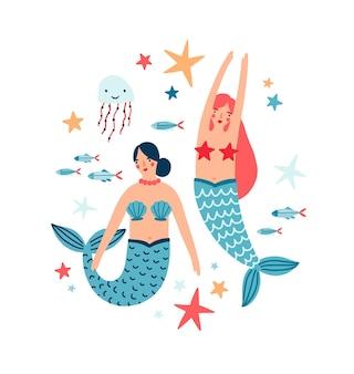 Ninfa dell'acqua e abitanti del mare illustrazione piatta. fauna marina, mondo sottomarino