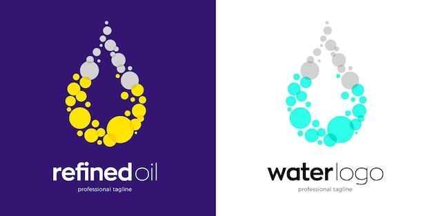 Design del logo dell'acqua e dell'olio